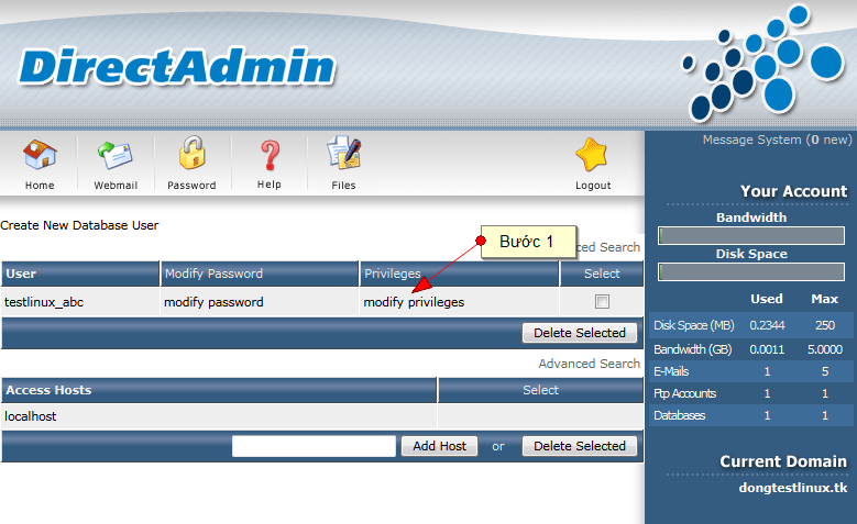 Bạn có thể đổi mật khẩu và thay đổi các đặc quyền