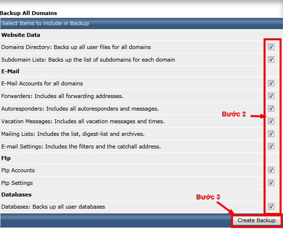 Lựa chọn các mục nào bạn cần backup, tick vào và chọn create backup