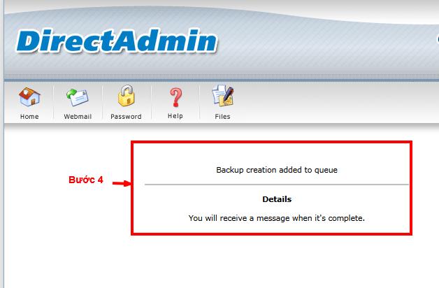 Sau khi backup hoàn thành hệ thống sẽ gửi tin nhắn