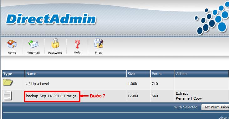 Click vào file backup để download về khi cần có thể upload lại và restore
