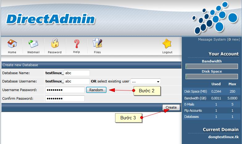 Tạo tên database và user theo ý của bạn