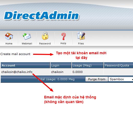 Chọn create mail account